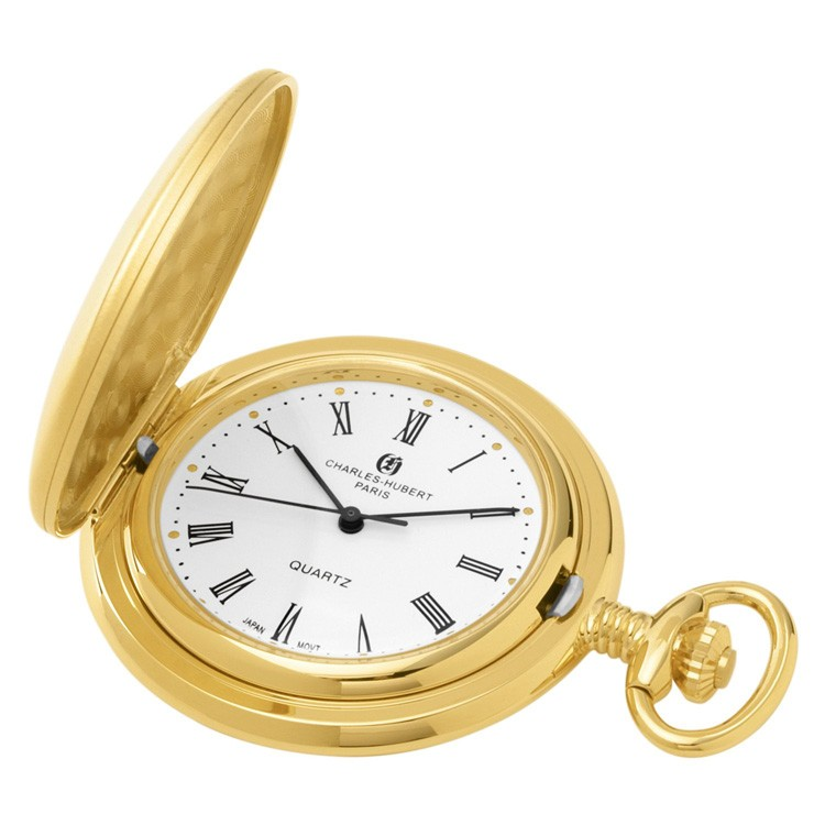 Gold-Plated Brushed Finish Hunter Case Quartz Pocket Watch