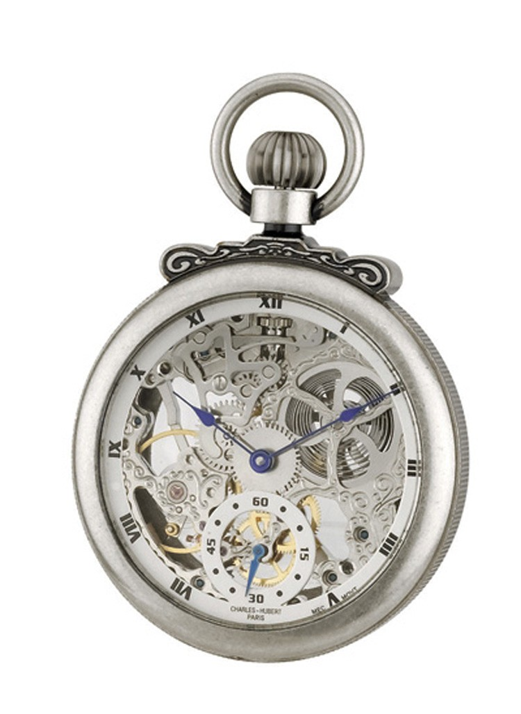 Antiqued Finish Open Face Mechanical Pocket Watch