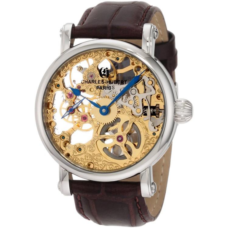 Charles-Hubert Men's Stainless Steel Skeleton Dial Mechanical Watch #3887-A