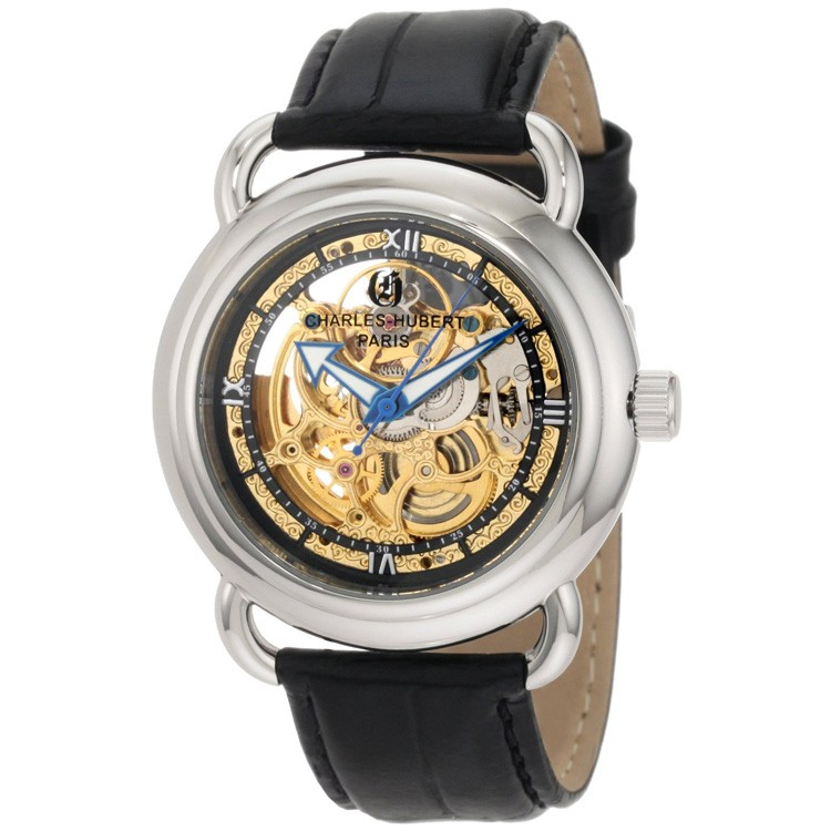 Charles-Hubert Men's Stainless Steel Skeleton Dial Automatic Watch #3889-B