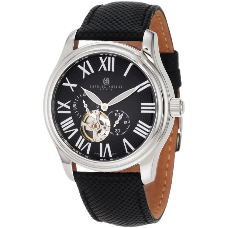 Charles-Hubert Men's Stainless Steel Black Dial Automatic Watch #3894-B