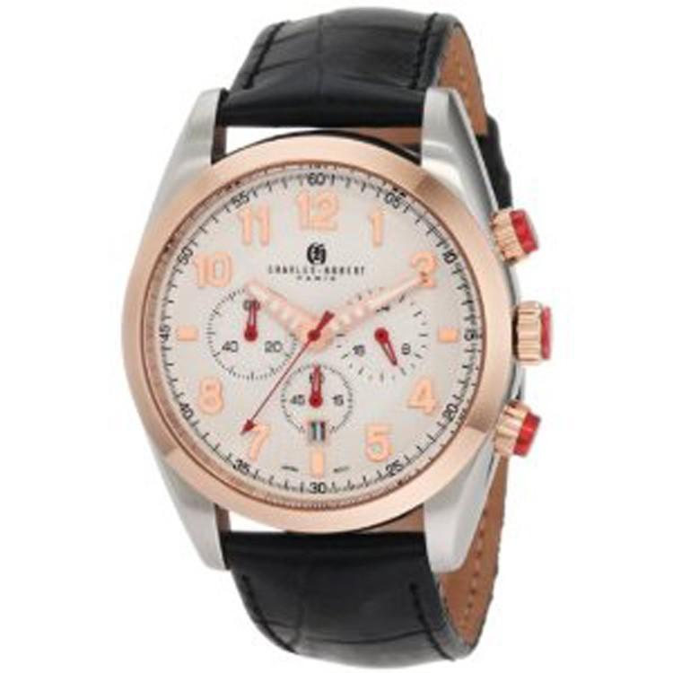 Charles-Hubert Men's Rose Gold-Plated Bezel Stainless Steel White Dial Chronograph Watch #3895-RG