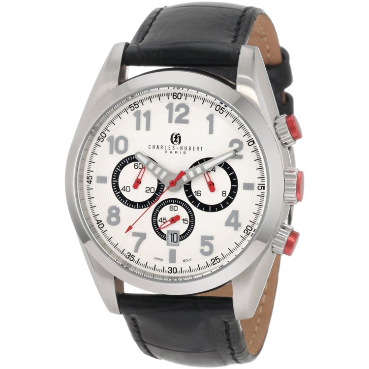 Charles-Hubert Men's Stainless Steel White Dial Chronograph Watch #3895-W