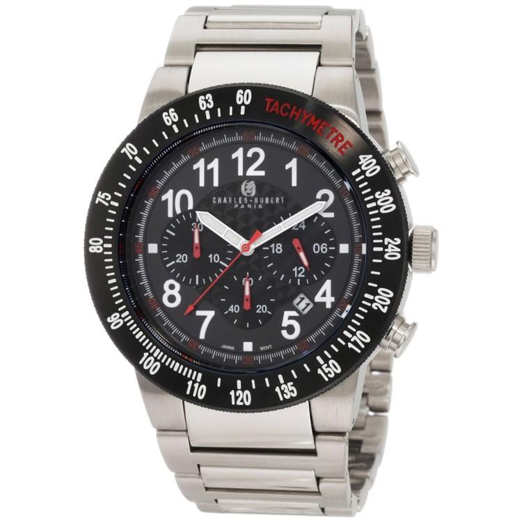Charles-Hubert Men's Stainless Steel Black Dial Chronograph Watch #3896-W