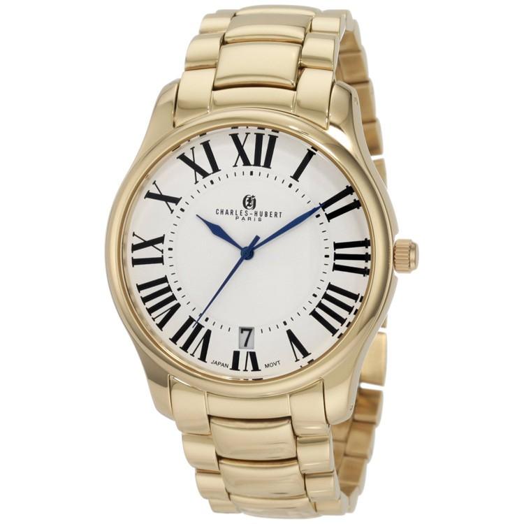 Charles-Hubert Men's Gold-Plated Stainless Steel White Dial Quartz Watch #3897-G