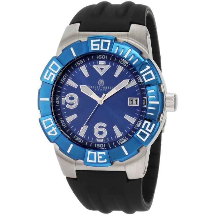 Charles-Hubert Men's Stainless Steel Blue Dial Quartz Watch #3899-BE