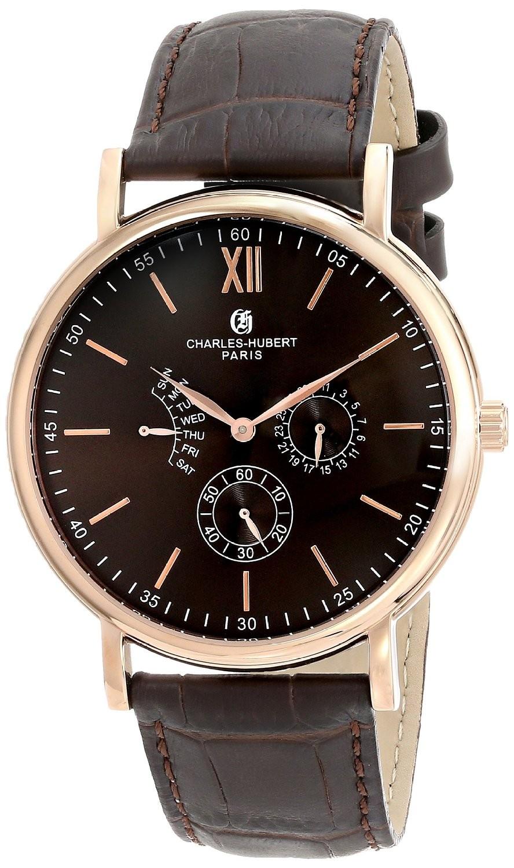 Charles-Hubert Paris Men's Rose-Gold Plated Stainless Steel Multifunction Quartz Watch