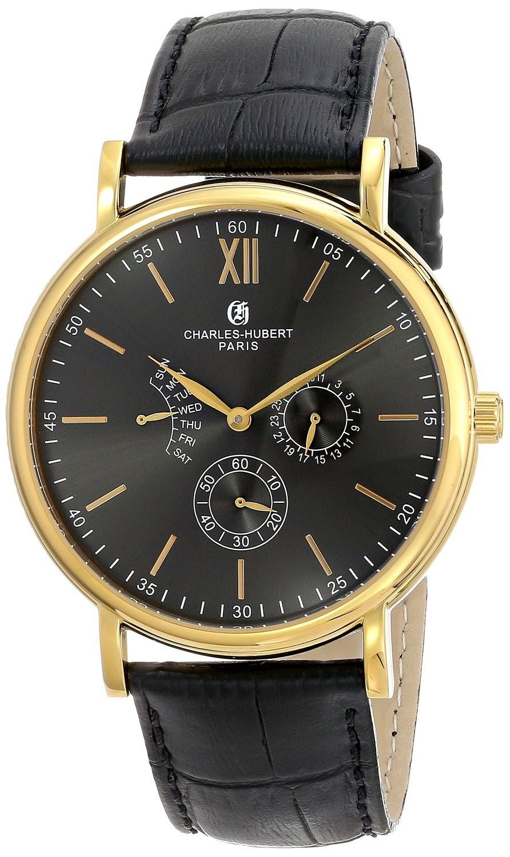 Charles-Hubert Paris Men's Gold-Plated Stainless Steel Multifunction Quartz Watch