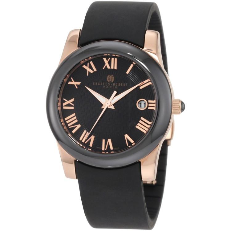 Charles-Hubert Women's Rose Gold-Plated Stainless Steel Black Ceramic Bezel Quartz Watch #6888-BRG