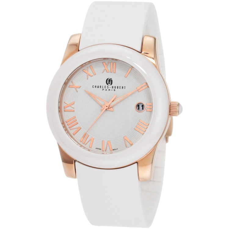 Charles-Hubert Women's Rose Gold-Plated Stainless Steel White Ceramic Bezel Quartz Watch #6888-WRG