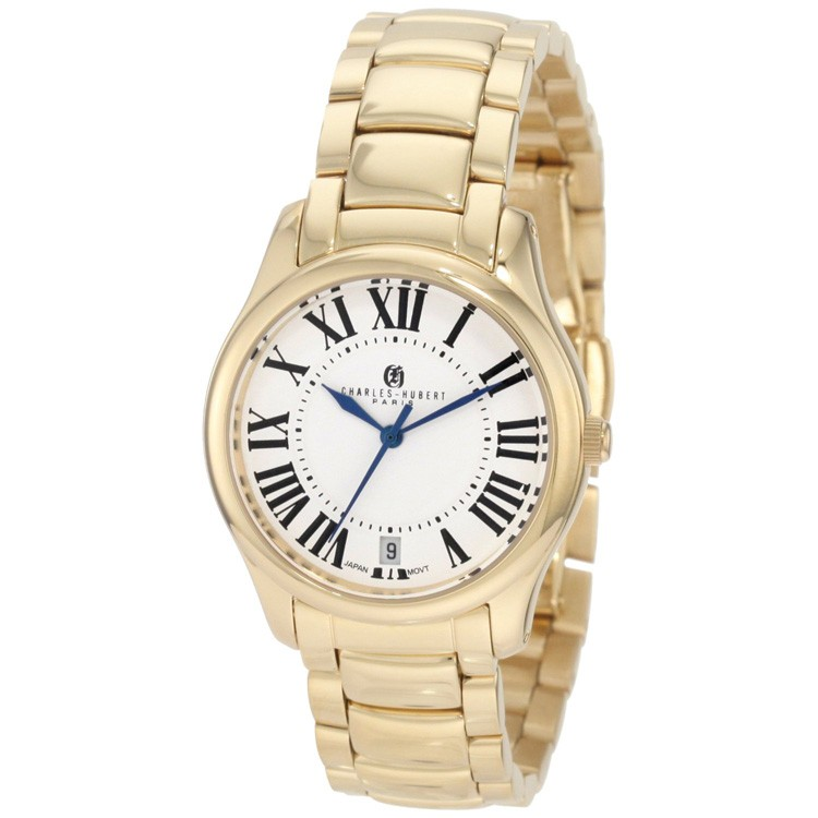 Charles-Hubert Women's Gold-Plated Stainless Steel White Dial Quartz Watch #6897-G