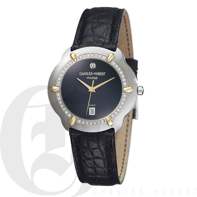 Charles Hubert Diamond & 18KT Gold S.S. Collection Men's Watch #18302D-J