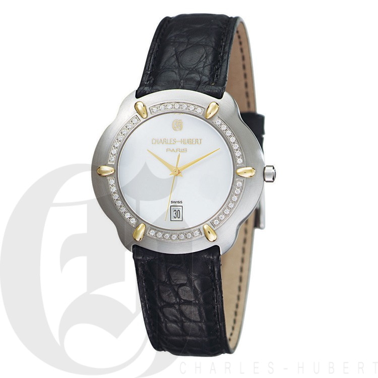 Charles Hubert Diamond & 18KT Gold S.S. Collection Men's Watch #18302D-W