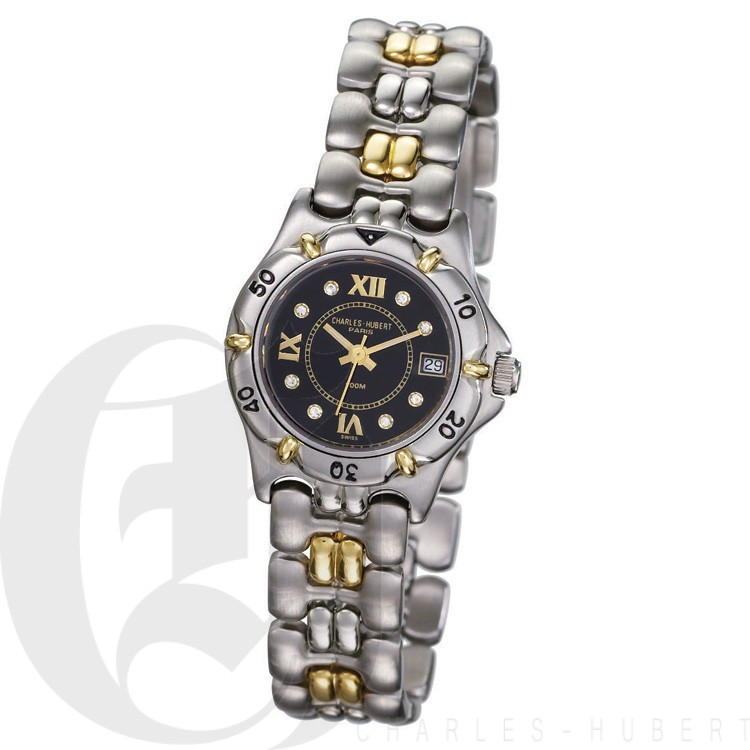 Charles Hubert Diamond & 18KT Gold S.S. Collection Women's Watch #18303D-LB