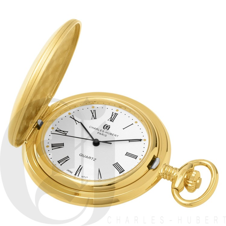 Gold-Plated Brushed Finish Hunter Case Quartz Pocket Watch