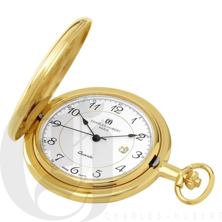 Gold-Plated Polished Finish Hunter Case Quartz Pocket Watch