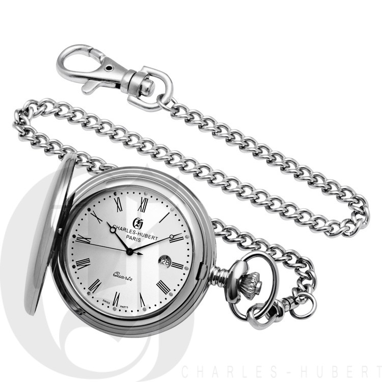Polished Finish Stainless Steel Hunter Case Quartz Pocket Watch