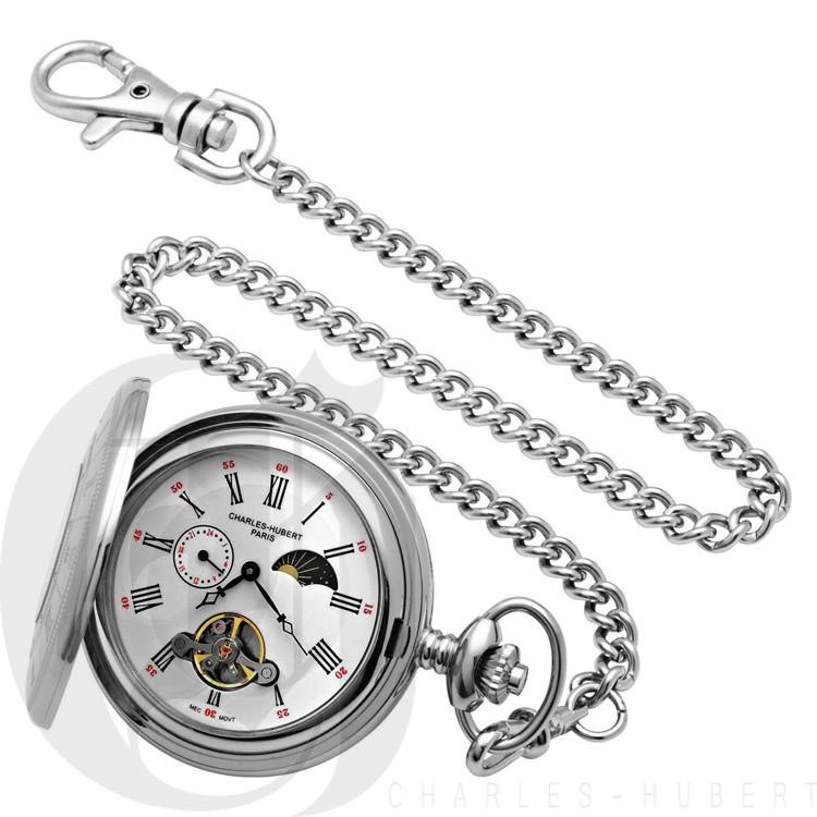 Stainless Steel Demi Hunter Case Mechanical Pocket Watch