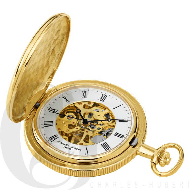 Gold-Plated Polished Finish Hunter Case Mechanical Pocket Watch