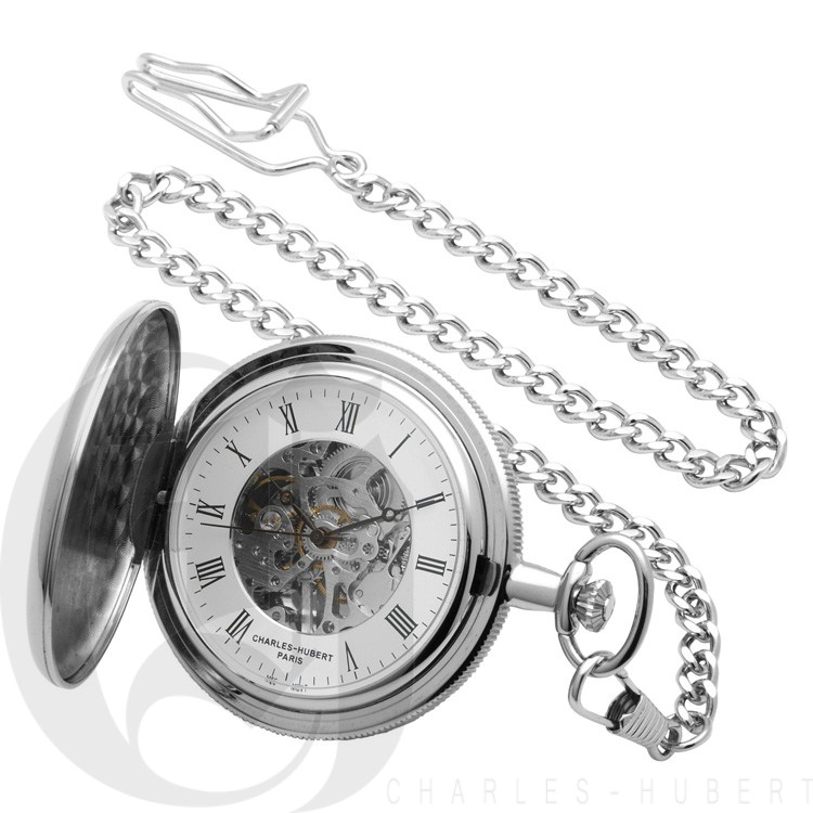 Polished Finish Hunter Case Mechanical Pocket Watch