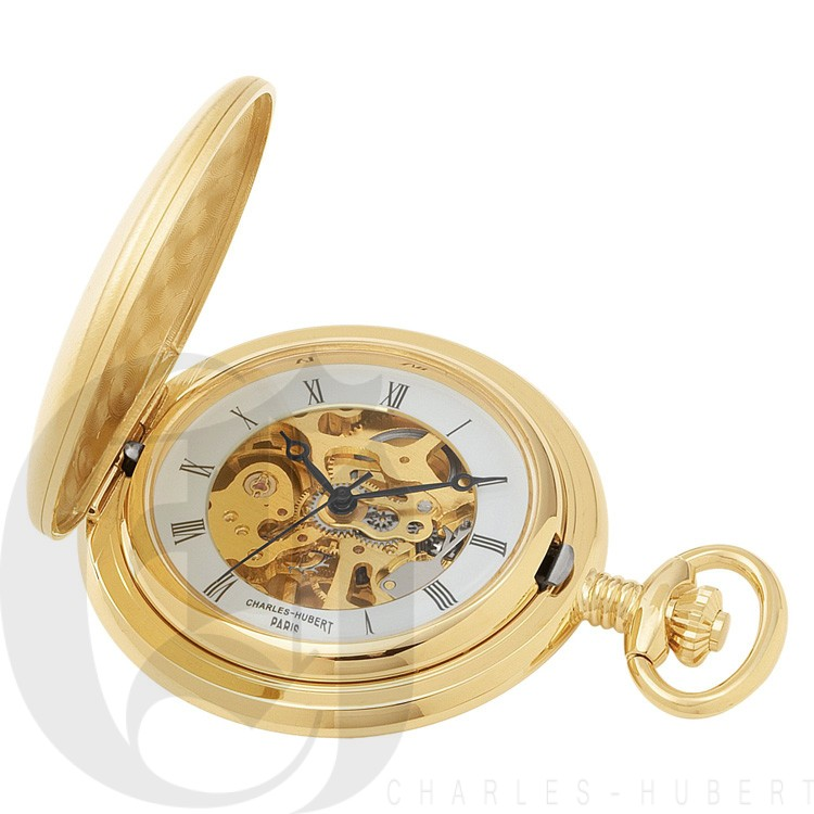 Gold-Plated Brushed Finish Hunter Case Mechanical Pocket Watch