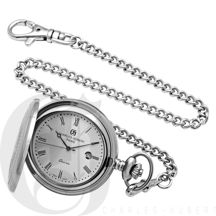 Stainless Steel Hunter Case Quartz Pocket Watch