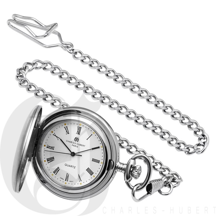 Brushed Finish Hunter Case Quartz Pocket Watch