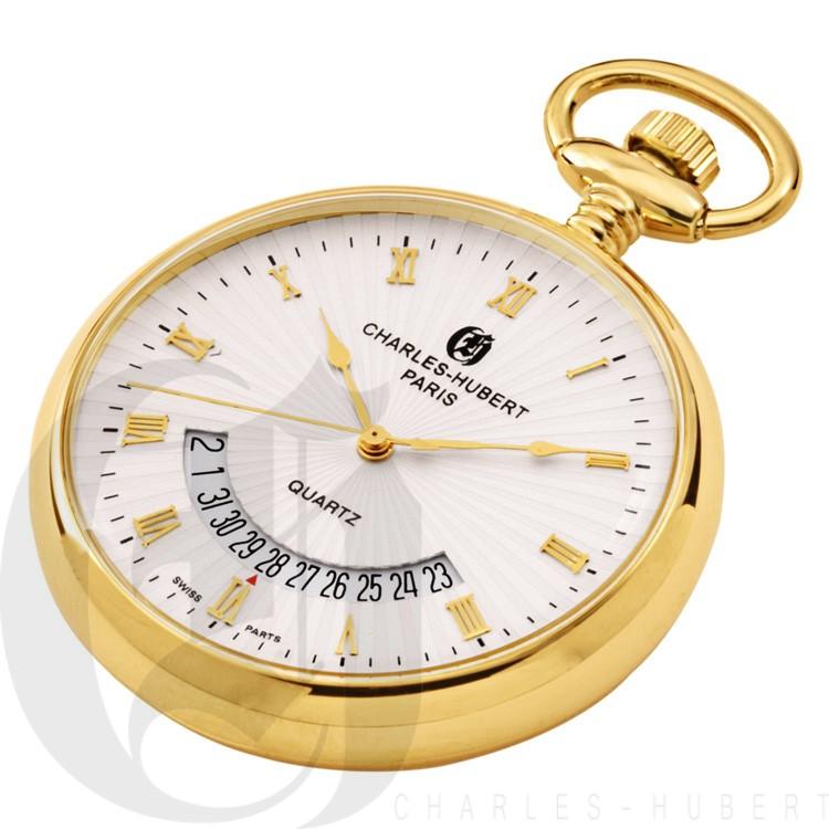 Gold-Plated Open Face Quartz Pocket Watch