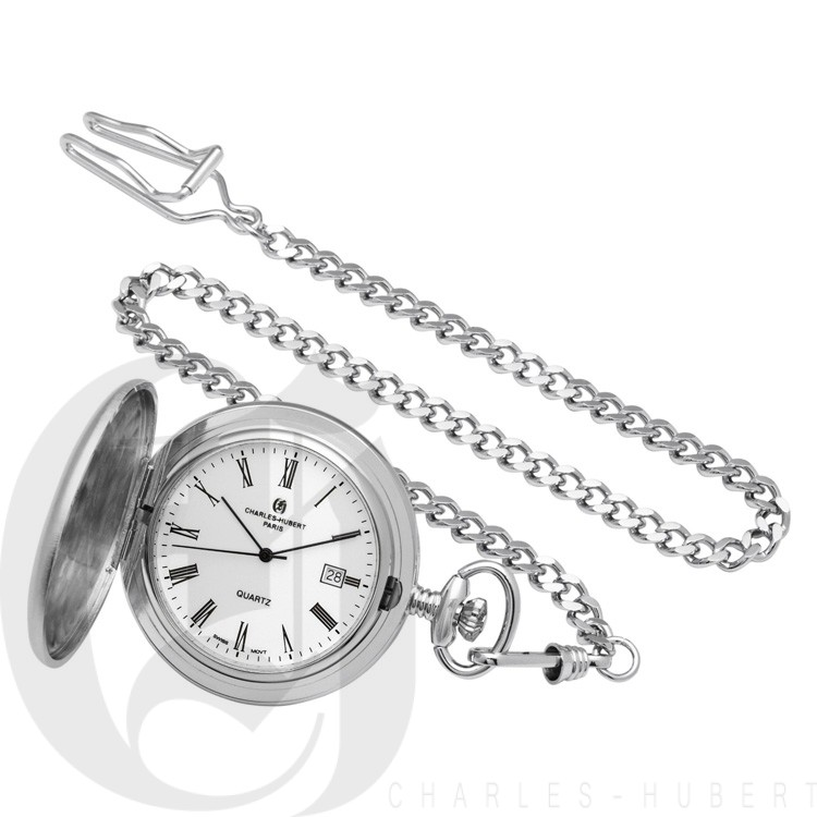 Rhodium-Plated Brushed Finish Hunter Case Quartz Pocket Watch