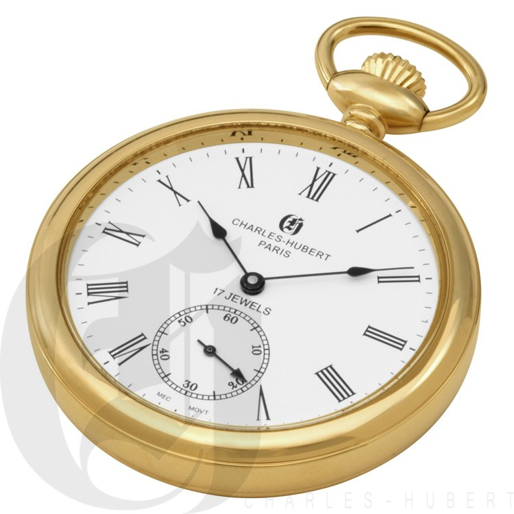 Gold-Plated Polished Finish Open Face Mechanical Pocket Watch