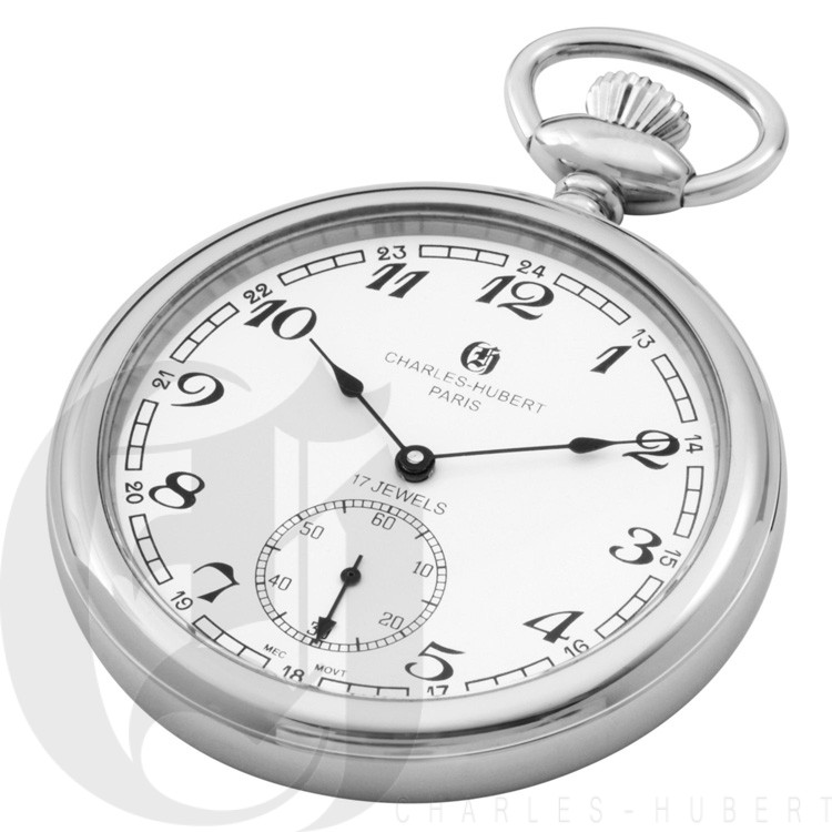 Polished Finish Open Face Mechanical Pocket Watch
