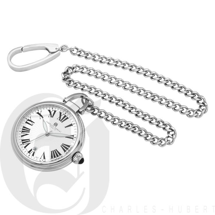 Stainless Steel Open Face Quartz Pocket Watch