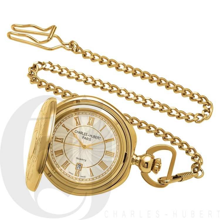 Gold-Plated Hunter Case Quartz Pocket Watch