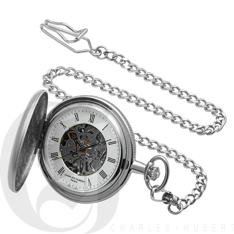 Brushed Finish Hunter Case Mechanical Pocket Watch