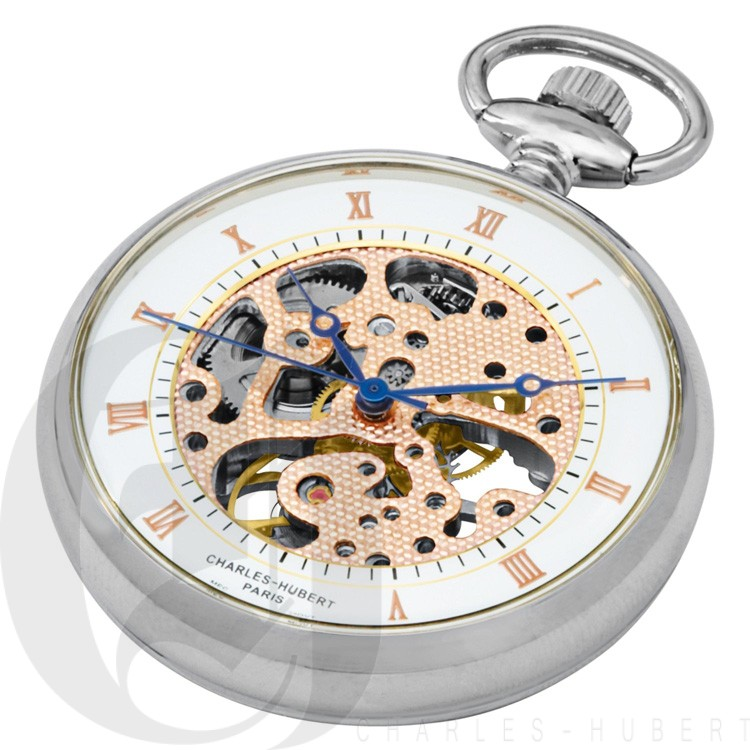 Polished Finish Open Face Mechanical Pocket Watch