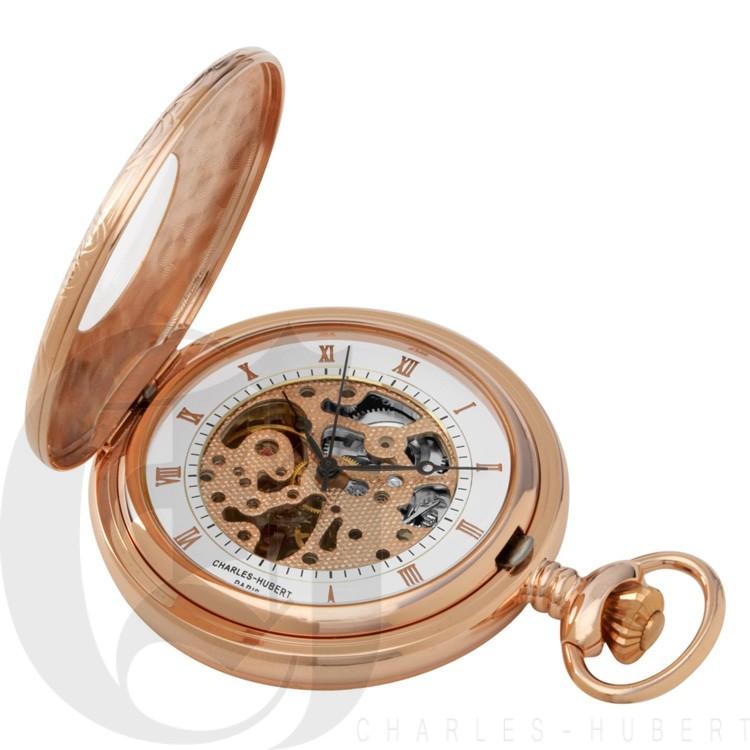 Rose Gold-Plated Demi Hunter Case Mechanical Pocket Watch