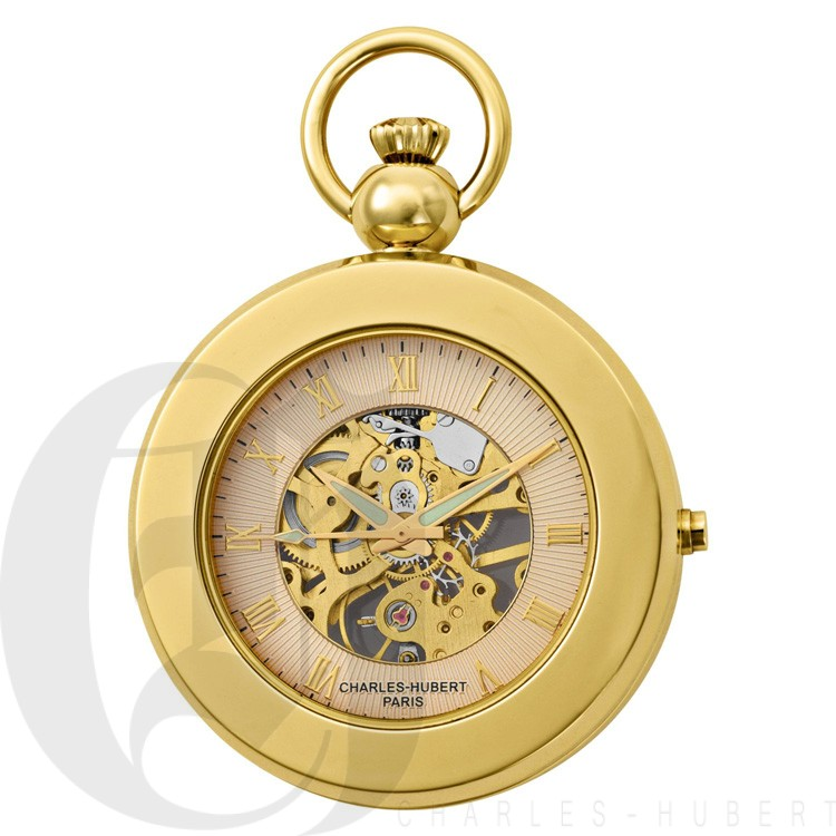 Charles Hubert Polished Brass Window Cover Pocket Watch Jewelry & Watches