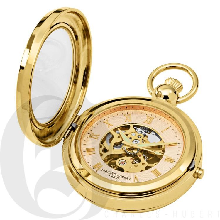 Gold-Plated Polished Finish Hunter Case Picture Frame Mechanical Pocket Watch