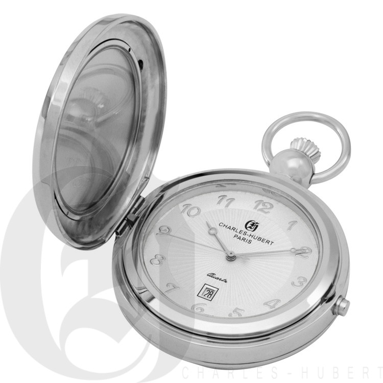 Polished Finish Hunter Case Picture Frame Quartz Pocket Watch