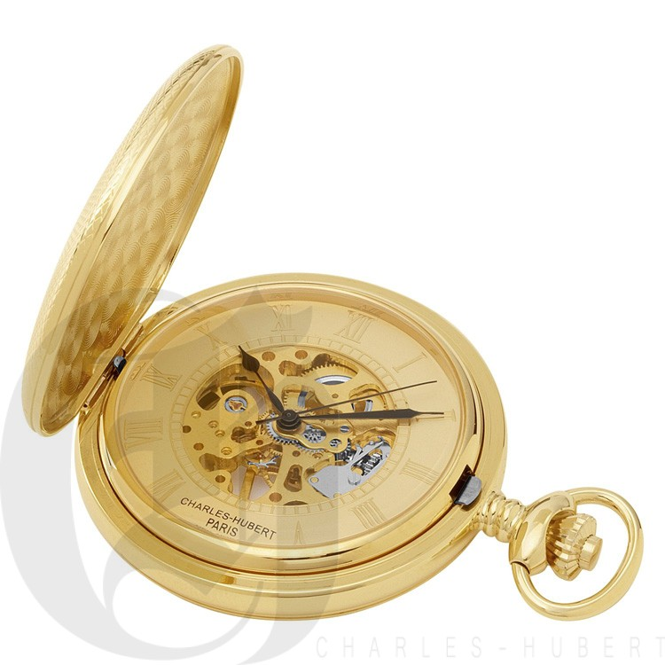 Gold-Plated Hunter Case Mechanical Pocket Watch