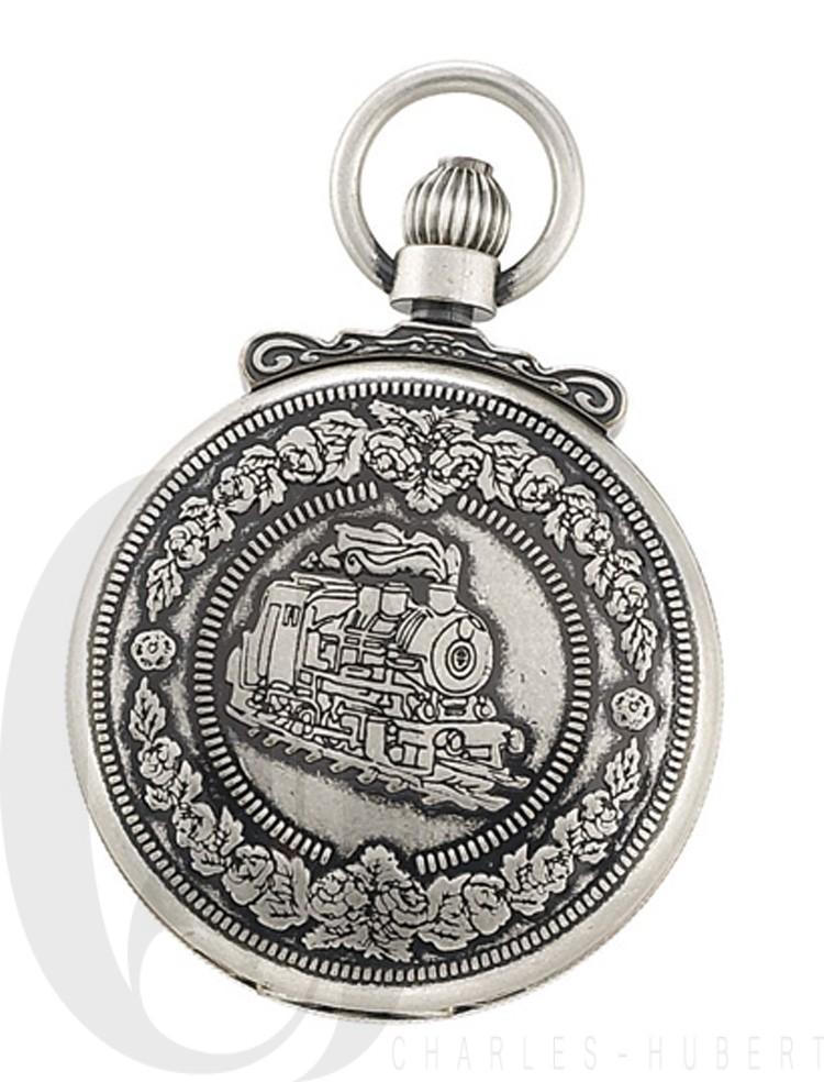 Antiqued Finish Hunter Case Quartz Pocket Watch
