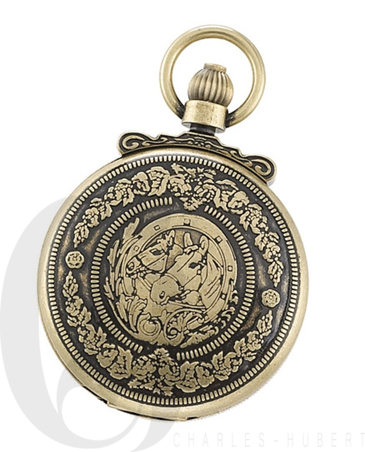 Gold-Plated Antiqued Finish Hunter Case Mechanical Pocket Watch