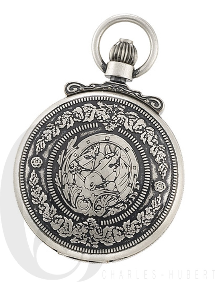Antiqued Finish Hunter Case Mechanical Pocket Watch