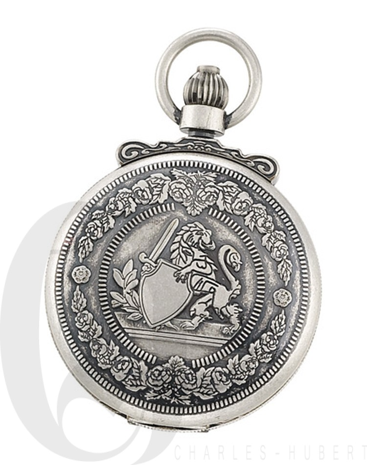 Antiqued Finish Double Hunter Case Mechanical Pocket Watch