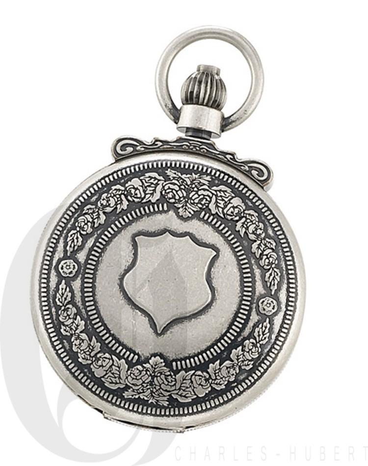 Antiqued Finish Double Hunter Case Mechanical Pocket Watch
