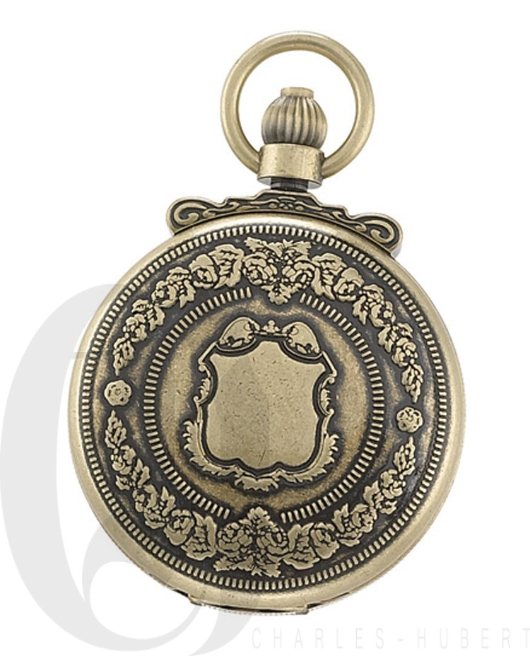 Gold-Plated Antiqued Finish Double Hunter Case Mechanical Pocket Watch