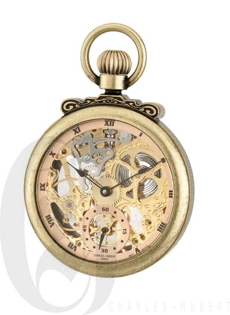 Gold-Plated Antiqued Finish Open Face Mechanical Pocket Watch