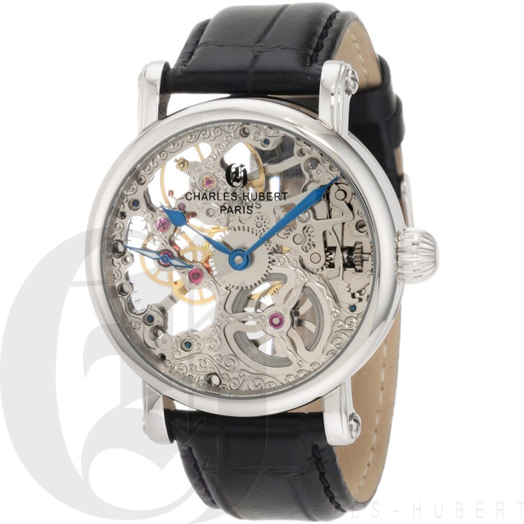 Charles-Hubert Men's Stainless Steel Skeleton Dial Mechanical Watch #3887-B