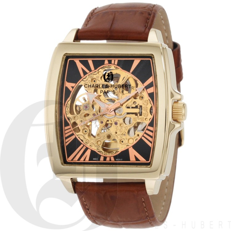 Charles-Hubert Men's Gold-Plated Stainless Steel Skeleton Dial Automatic Watch #3888-A