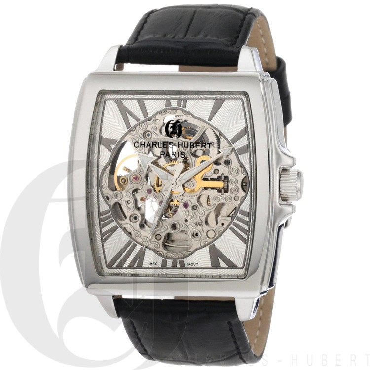 Charles-Hubert Men's Stainless Steel Skeleton Dial Automatic Watch #3888-B